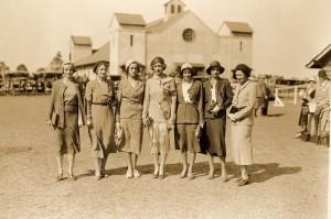 ladies in front fair barn